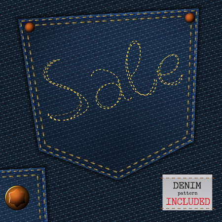 sew tags: The illustration of  beautiful jeans sale element on a textured background. Totally vector image. Additional seamless denim pattern included. Useful for a clothing store promo advertising.