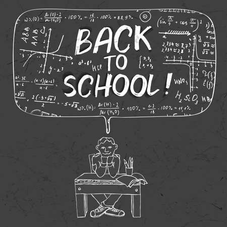 algebraic: The illustration of a sitting schoolboy on a beautiful black scientific background with handwriting typography. Algebraic class blackboard. Vector fully scalable image. Back to School cartoon concept.