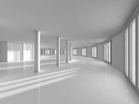 uncarpeted: empty show white room 3D rendering image