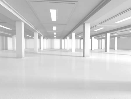 ceiling: empty show white room 3D rendering image