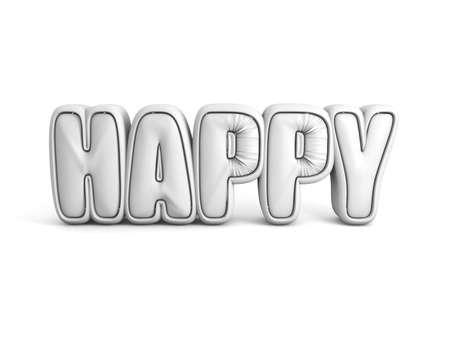happy world: happy world single letter 3d rendering image