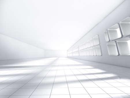 廊下のインテリアを輝く抽象空照らされたライト ブルー 3 d レンダリング図