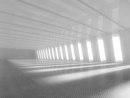 background: Abstract empty illuminated light blue shining corridor interior, 3d render illustration