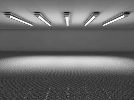 art: Abstract empty illuminated light blue shining corridor interior, 3d render illustration