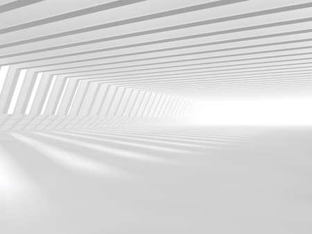 近代建築の抽象的な背景、空の白いオープン スペース インテリアに windows、灰色のコンクリートの壁、3 D レンダリング