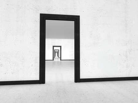 the passage: Long passage. illustration. 3D rendering white room