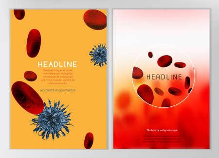 celulas humanas: La ilustración de la infografía bio con células de la sangre en estilo realista hermoso. Industria médica, biotecnología y bioquímica concepto. Vector imagen escalable para diseños médicos científicos.