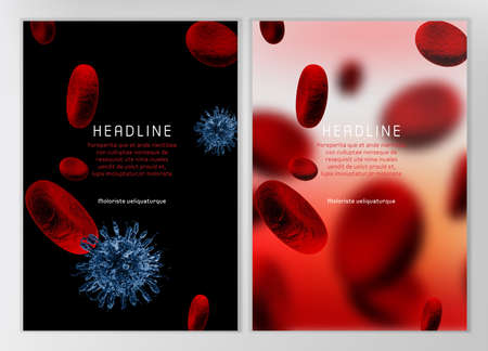 biochemistry: Modern vector brochure, report or flyer design template. Medical industry, biotechnology and biochemistry concept. A4 scientific medical designs.  Letter Cover Templates Collection.