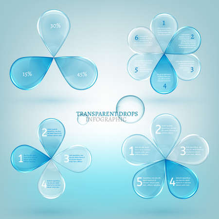 clean energy: Vector illustration of glossy water drops infographic elements. Transparent scientific concept in light blue color.  Template for diagram, graph, presentation and chart with options, parts and steps.