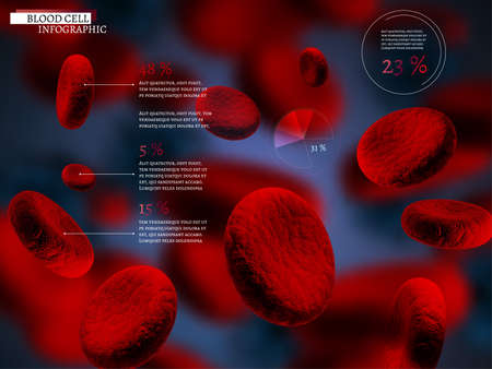 hospital: The illustration of bio infographics with blood cells in beautiful realistic style. Medical industry, biotechnology and biochemistry concept. Vector scalable image for scientific medical designs.