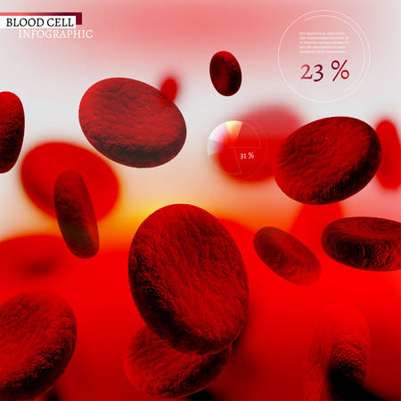 The illustration of bio infographics with blood cells in beautiful realistic style. Medical industry, biotechnology and biochemistry concept. Vector scalable image for scientific medical designs.