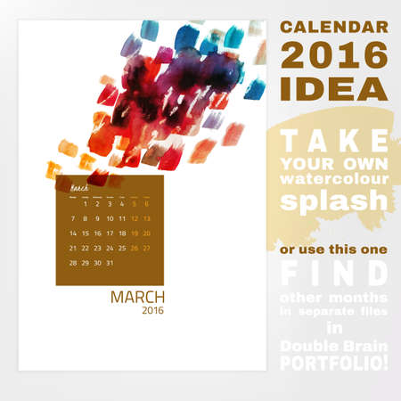 Colorful graphic design of an English Calendar 2016. Week starts from Monday. Art and Painting watercolor concept with splashes and brush strokes. Creative and unique style. Vector illustration