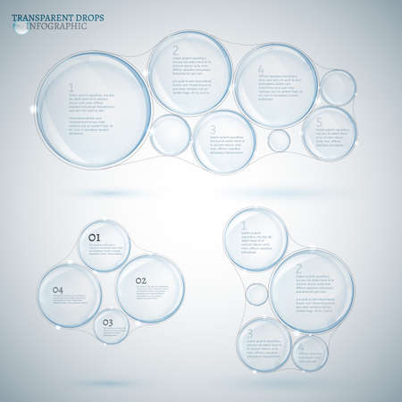 reflection of life: Vector illustration of beautiful scientific bio infographics with transparent bubbles. Ecology concept. Ideal for clean and pure ecological designs. Useful in eco brochure, print and poster.