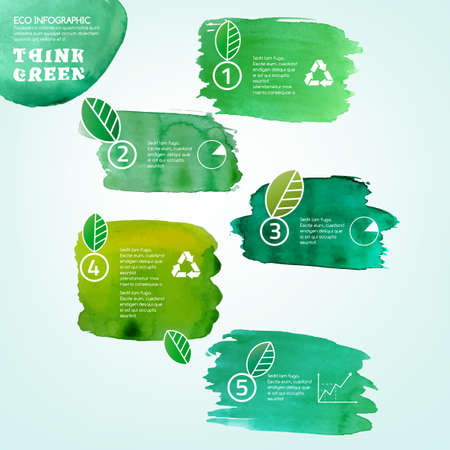 watercolor splash: Vector watercolor hand drawn painted Illustration of environmentally friendly infographics. Think Green. Ecology Concept with paint splashes. Ideal elements for poster, brochure and leaflet design.