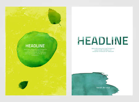 green environment: Modern vector brochure, report or flyer design template. Eco-friendly, ecology and organic graphic concept. A4 colorful watercolour hand drawn designs.  Letter covers artistic templates Collection. Illustration