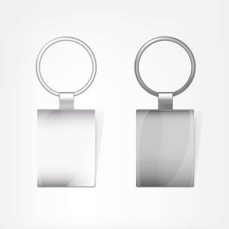 keyholder: Vector illustration of a blank metal rectangular keychain with a ring for a key, Isolated on a white background. Ideal template for branding, identity guidelines and promo campaigns. Illustration