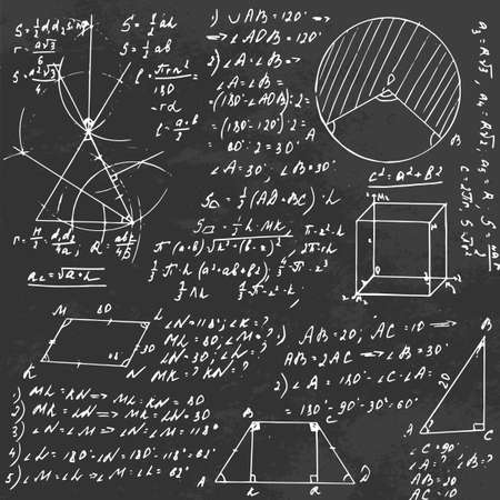 crosscut: The illustration of beautiful black scientific background with chalk handwriting. Geometric class blackboard. Totally vector fully scalable image with white handwritten text. Illustration