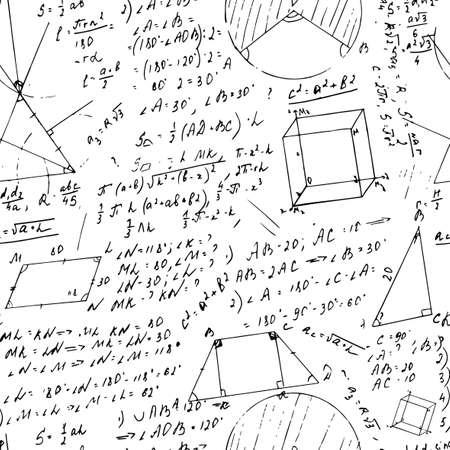 teorema: Vector f�rmula sin patr�n pizarra a partir de los escritos dibujados a mano. Estilo gr�fico retro �til para cient�ficos, la escuela y el dise�o de la educaci�n.