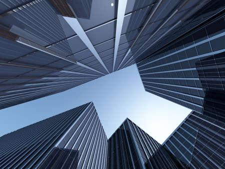 L'image de rendu 3d skyscapers vue de dessous