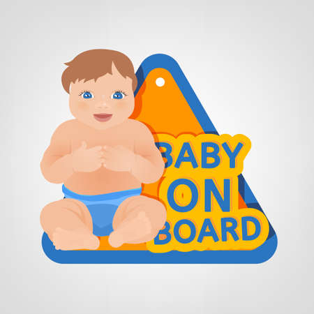forewarning: Vector illustration of triangular warning sign for vehicle safety with a baby in bright cartoonish style. Easy to edit ready to print colourful posters in blue, yellow and orange tones. Baby on Board.