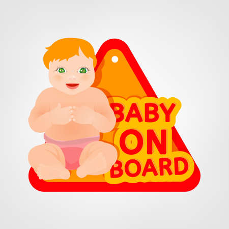 triangular warning sign: Vector illustration of triangular warning sign for vehicle safety with a baby girl in bright cartoonish style. Easy to edit ready to print posters in red, yellow and pink tones. Illustration