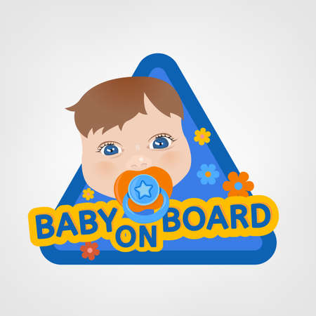 triangular warning sign: Vector illustration of triangular warning sign for vehicle safety with a baby in bright cartoonish style. Easy to edit ready to print colourful posters in blue, yellow and orange tones. Baby on Board.
