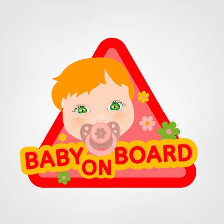 bebe a bordo: Ilustraci�n vectorial de la se�al triangular de advertencia de seguridad de los veh�culos con una ni�a en el estilo de dibujos animados brillante. F�cil de editar listo para imprimir carteles en tonos rojos, amarillos y rosados.
