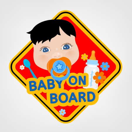 bebe a bordo: Ilustraci�n vectorial de la se�al de advertencia cuadrado con un beb� de seguridad de los veh�culos en el estilo de dibujos animados brillante. F�cil de editar listo para imprimir el cartel en tonos rojos, amarillos y azules.