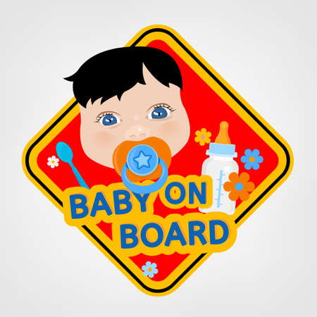 baby blue: Vector illustration of square warning sign with a baby boy for vehicle safety in bright cartoonish style. Easy to edit ready to print poster in red, yellow and blue tones. Illustration