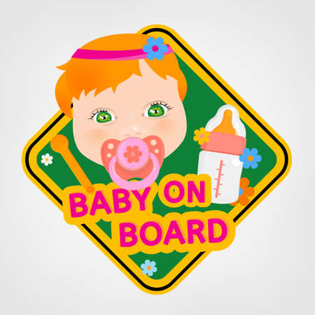 bebe a bordo: Vector illustration of square warning sign with a baby girl for vehicle safety in bright cartoonish style. Easy to edit ready to print poster in red, yellow and green tones. Vectores