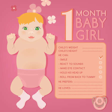 babys dummies: Beautiful vector illustration of a 1 month pretty baby. Childs growth infographic with fill in form. Little baby card with cartoonish hand drawn figure and a pacifier. Colorful image in pink tones.