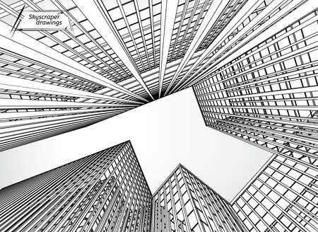 Vector illustration of beautiful skyscrapers. View from below. Useful abstract urban background for business brochure, leaflet, print and other modern and futuristic design.