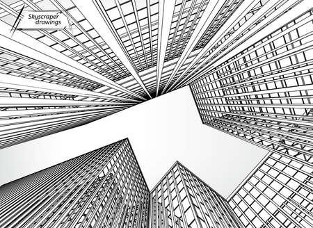 lijntekening: Vector illustratie van mooie wolkenkrabbers. Bekijken van onderen. Nuttig abstracte stedelijke achtergrond voor zakelijke brochure, folder, print en andere modern en futuristisch design.