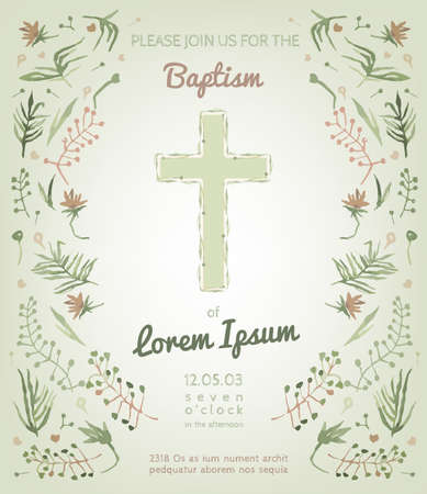 Hermosa tarjeta de invitación de bautismo con elementos dibujados a mano acuarela florales. Estilo lindo y romántico de la vendimia. Imagen del vector en colores verde y rosa claro.