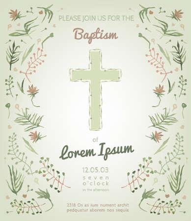 comunion: Hermosa tarjeta de invitaci�n de bautismo con elementos dibujados a mano acuarela florales. Estilo lindo y rom�ntico de la vendimia. Imagen del vector en colores verde y rosa claro.