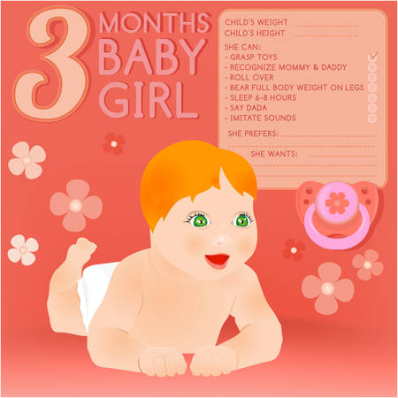 babys dummies: Beautiful vector illustration of a 3 months lying baby. Childs growth infographic with fill in form. Little baby card with cartoonish hand drawn figure and a pacifier. Colorful image in pink tones.