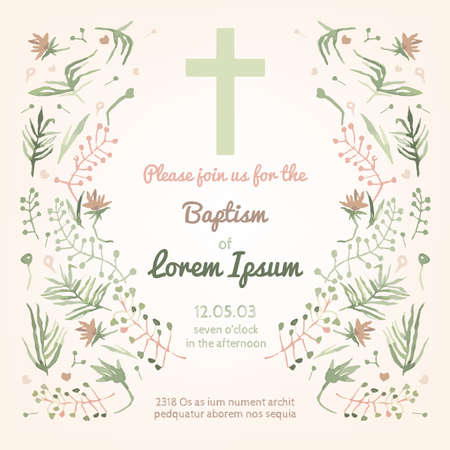 holy: Beautiful Baptism invitation card with floral hand drawn watercolor elements. Cute and romantic vintage style. Vector image in light  pink and green colors.