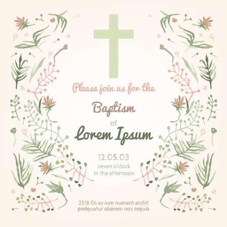 confirmacion: Hermosa tarjeta de invitación de bautismo con elementos dibujados a mano acuarela florales. Estilo lindo y romántico de la vendimia. Imagen del vector en colores verde y rosa claro.