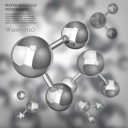 The illustration of bio infographics background with water molecule in metallic style. Ecology, biology and biochemistry concept. Totally vector image.
