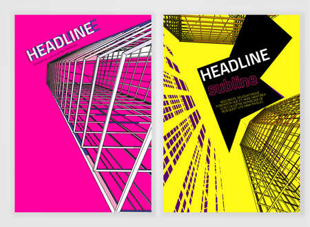 leaflet design: Vector business brochure cover template. Bright modern backgrounds for poster, print, flyer, book, booklet, brochure and leaflet design. Editable graphic image in yellow, black and magenta colors
