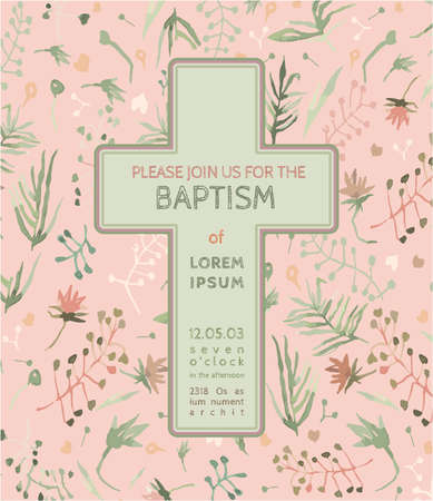 communion: Beautiful Baptism invitation card with floral hand drawn watercolor elements. Cute and romantic vintage style. Vector image in light  pink and green colors.