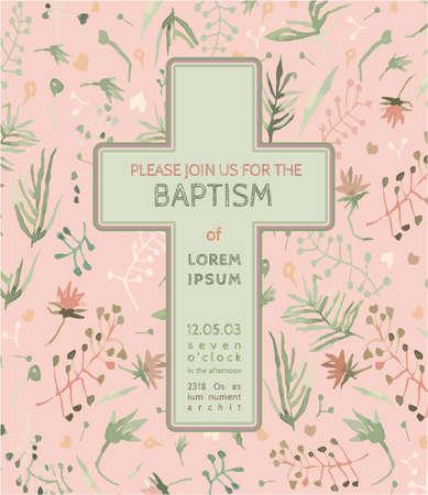 battesimo: Bella Battesimo invito con elementi floreali acquerello disegnati a mano. Carino e romantico stile vintage. Vector immagine nei colori verde e rosa chiaro.