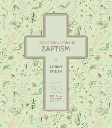 Beautiful Baptism invitation card with floral hand drawn watercolor elements. Cute and romantic vintage style. Vector image in light  pink and green colors.