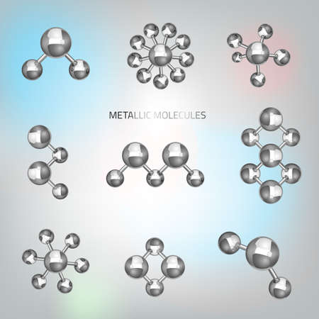 Vector illustration of beautiful metallic molecular objects in realistic style. Graphic logo template. Modern 3d scientific shape in silver tones for hi tech, digital, industrial or technical company. Illustration