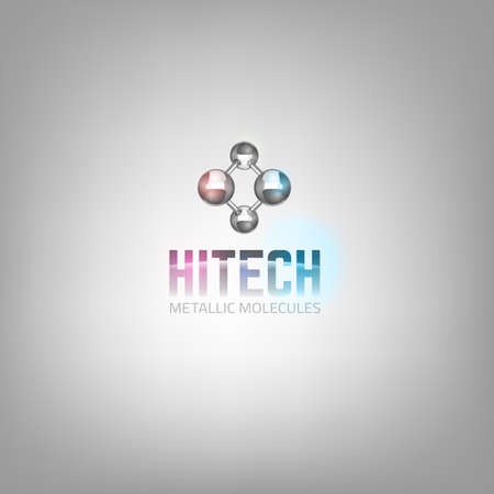The illustration of beautiful vector graphic logo template with metal molecular symbol . Modern 3d scientific concept in silver tones for hi tech, digital, industrial or technical company.