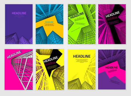 architecture and buildings: Vector business brochure cover template. Modern backgrounds for poster, print, flyer, book, booklet, brochure and leaflet design. Editable graphic collection in violet, orange, blue and black colors
