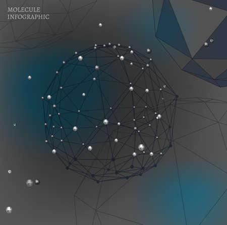 polyhedron: Beautiful vector de fondo molecular con pol�gonos y poliedros formas. Met�lico y objetos gr�ficos modernos transparentes. Tel�n de fondo Cient�fica para la cibern�tica, digital, dise�o web y la tecnolog�a. Vectores