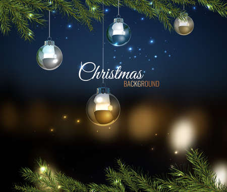 blurred lights: Vector illustration of christmas tree branches with silver balls on dark night bokeh background with blurred lights. Beautiful decorative backdrop for New Year postcard, poster, print or invitation.