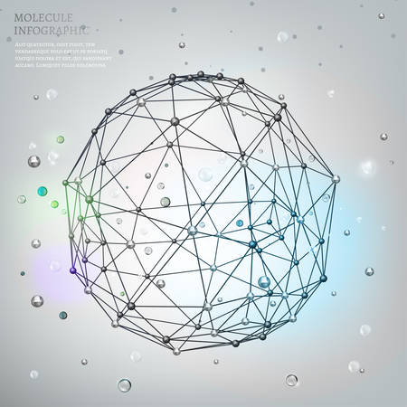 polyhedron: Beautiful vector molecular background with polygon and polyhedron shapes. Metallic and transparent modern graphic objects. Scientific backdrop for cybernetic, digital, web and technology design.