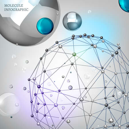 vector  molecular: Beautiful vector molecular background with polygon and polyhedron shapes. Metallic and transparent modern graphic objects. Scientific backdrop for cybernetic, digital, web and technology design.